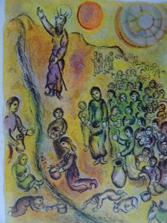 Lithographie Chagall - The Story of the Exodus, plate 12: Et tu touchera le Rocher..