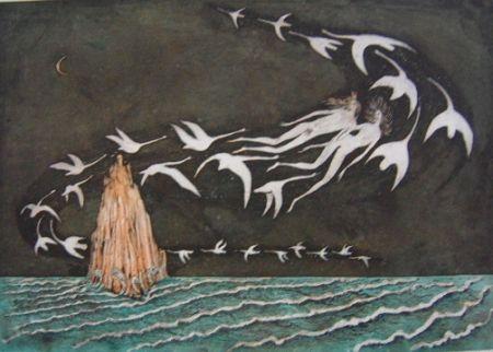 Aquatinte Bo - The swan's lake 2