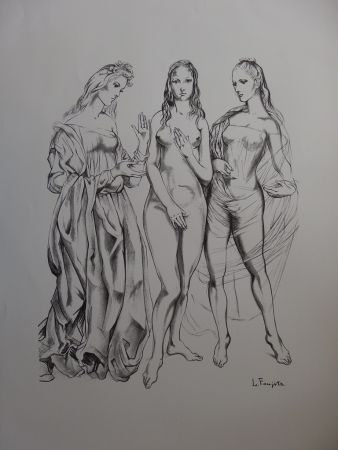 Lithographie Foujita - The Three Graces
