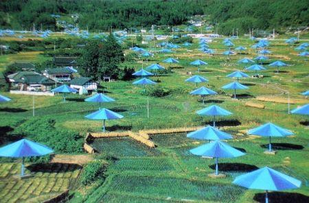Multiple Christo - The Umbrellas, Japan-USA, 1984-91, Ibaraki, Japan Site