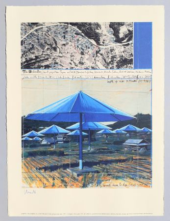 Lithographie Christo - The umbrellas, joint project for Japan and USA
