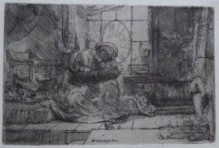 Gravure Rembrandt - The Virgin and Child with the cat and snake.