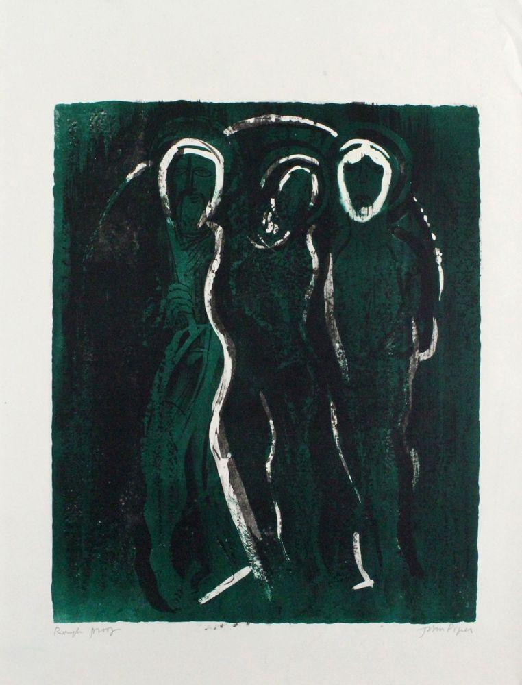 Lithographie Piper - The Visitation / Saints