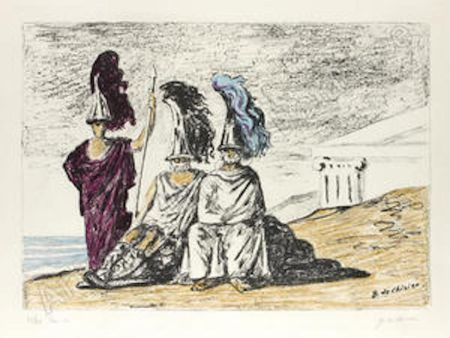 Lithographie De Chirico - The warriors return from troy