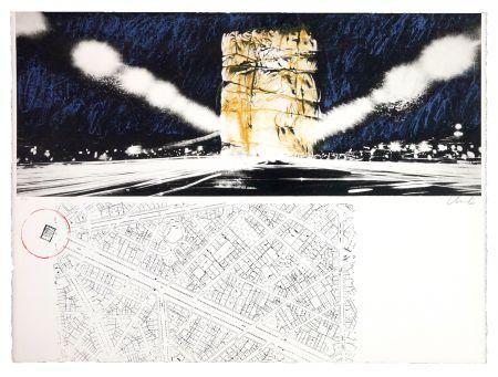 Lithographie Christo - The wrapping of l'Arc de Triumph (l'empaquement de l'Arc de Triomphe)