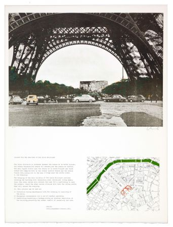 Lithographie Christo - The wrapping of the Ecole militaire
