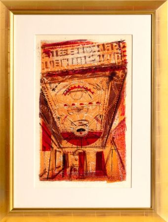Lithographie Thiebaud - Theater Marquee