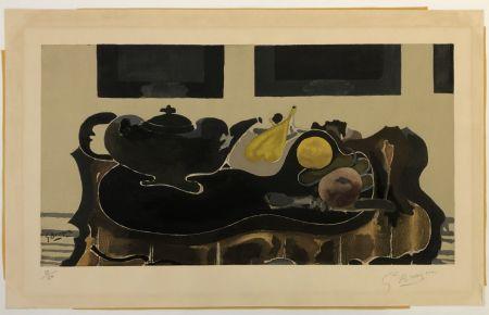 Collographie Braque - Theiere et Fruits