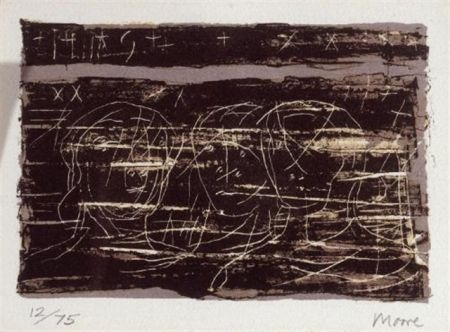Lithographie Moore - Three heads