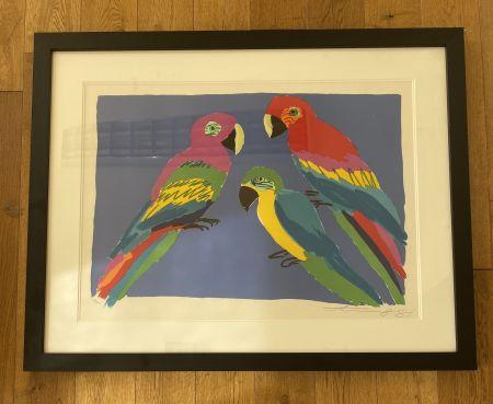 Linogravure Ting - Three Parrots