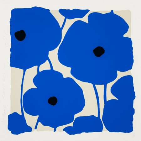 Sérigraphie Sultan - Three Poppies (Blue)