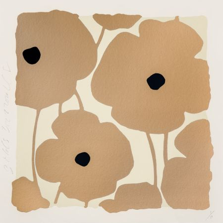Sérigraphie Sultan - Three Poppies (Gold)