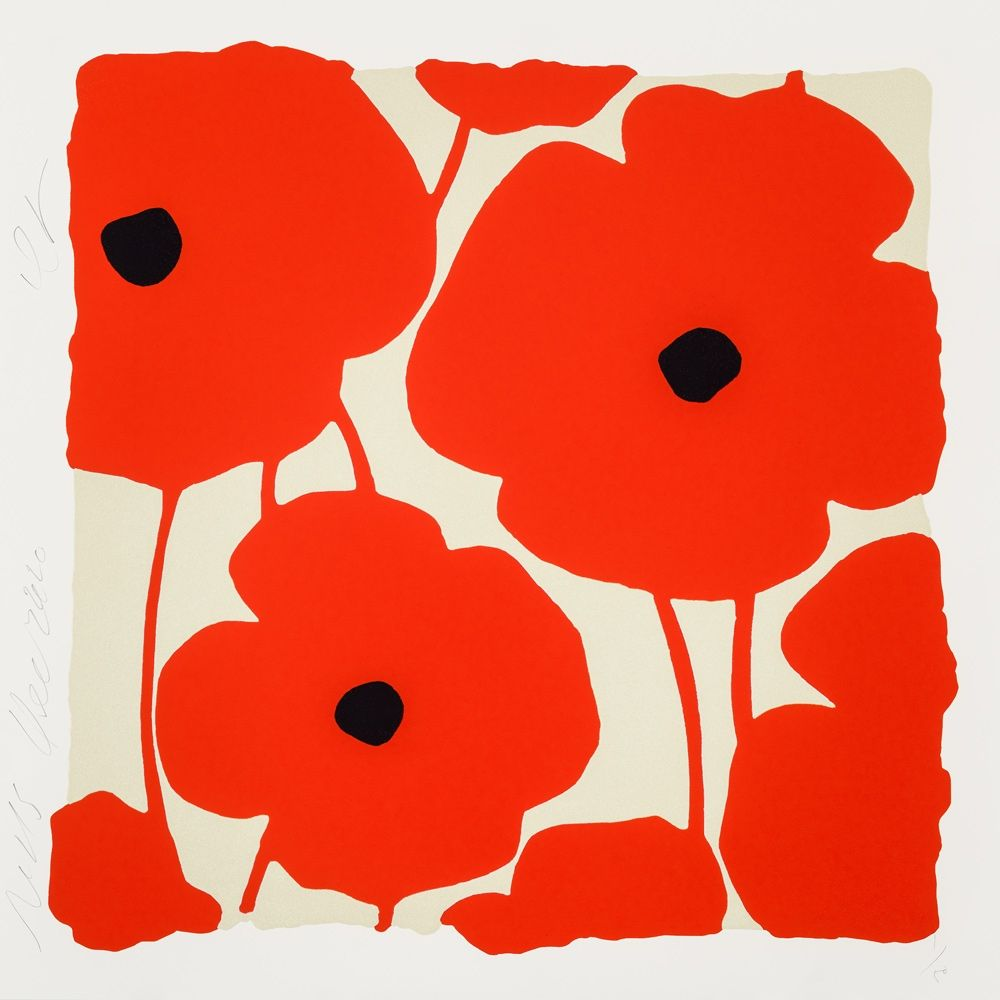 Sérigraphie Sultan - Three Poppies (Red)