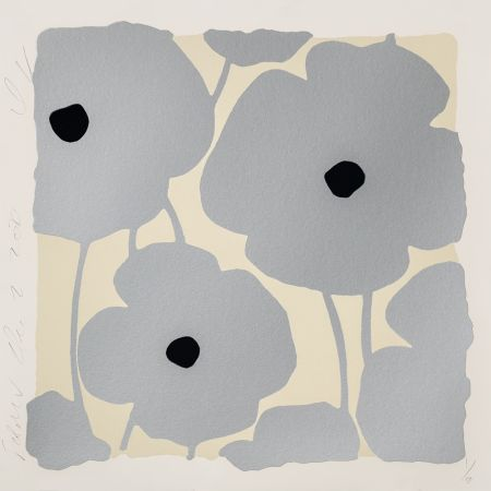 Sérigraphie Sultan - Three Poppies (Silver)
