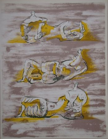 Lithographie Moore - Three reclining figures