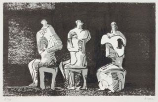 Lithographie Moore - Three Seated Figures In Setting