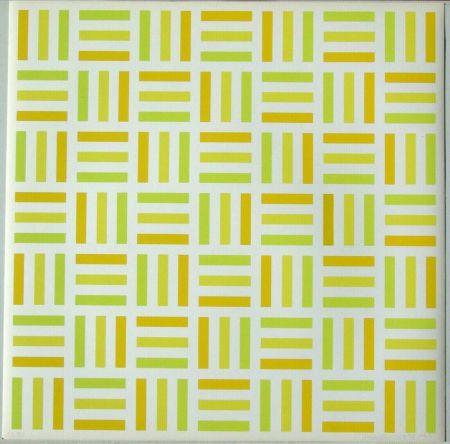 Sérigraphie Morellet - Tirets jaunes,jaunes-verts,jaunes orange