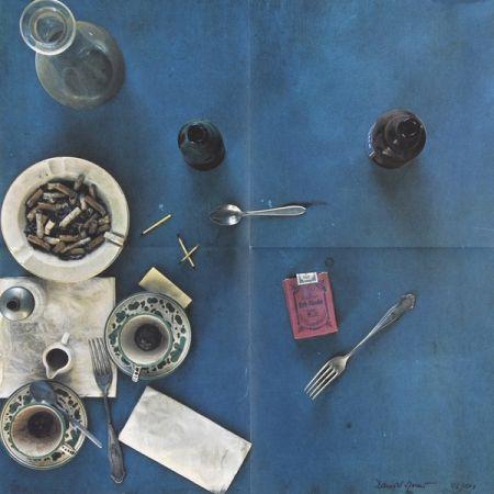 Lithographie Spoerri - Tischdecke