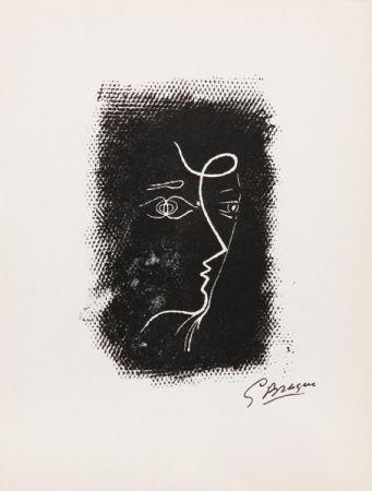 Lithographie Braque - Title: Profil de Femme from Souvenirs de Portraits d'Artistes. Jacques Prévert: Le Coeur à l'ouvrage (M.25)
