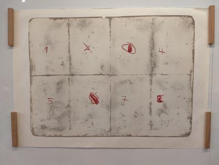 Lithographie Tàpies - Toile pliée etc chiffres