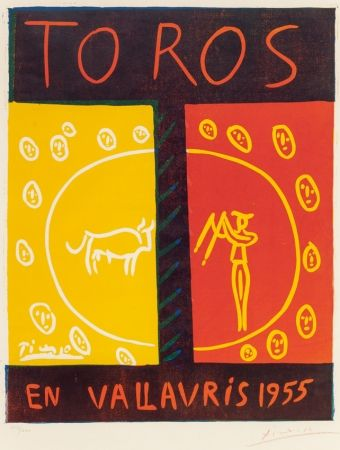 Linogravure Picasso - Toros en Vallauris (Bulls in Vallauris ),1955