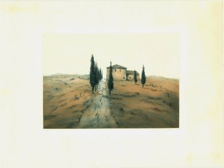 Eau-Forte Et Aquatinte Gortner - Toskanische Landschaft / Tuscan Landscape
