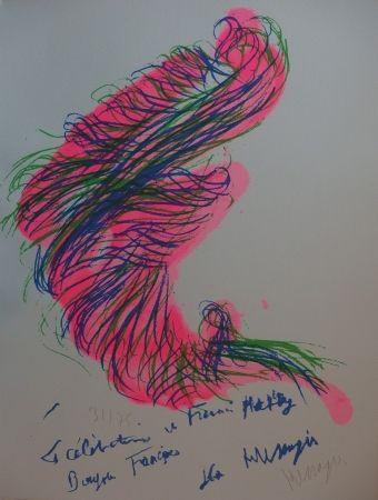Lithographie Messagier - Tourbillon rose