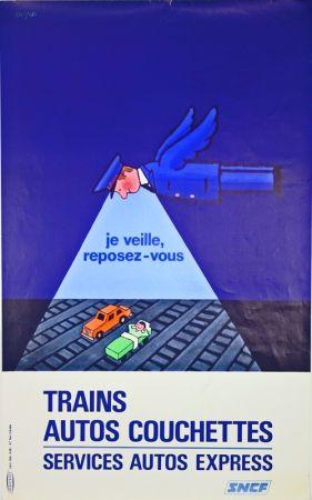 Lithographie Savignac - Trains Autos Couchettes