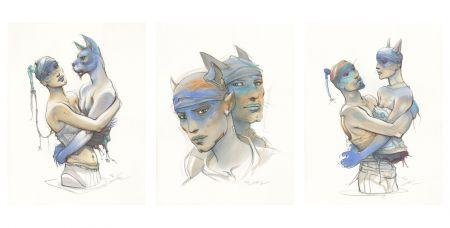 Lithographie Bilal - Transhumans - Triptyque