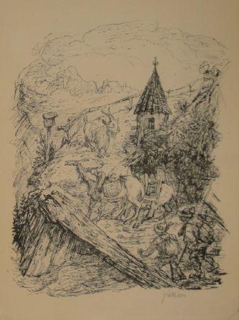 Lithographie Kubin - Transport im Gebirge