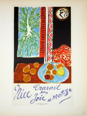 Lithographie Matisse - Travail et Joie  Nice 1948