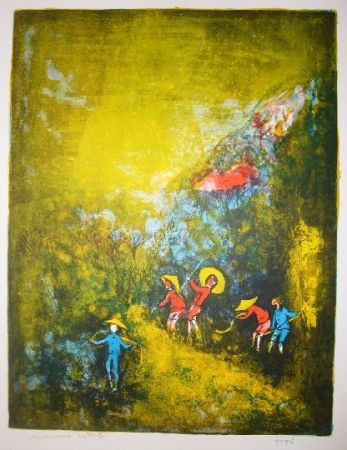 Lithographie Lebadang - Travaux au champ