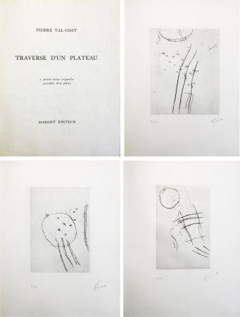 Livre Illustré Tal Coat - TRAVERSE D'UN PLATEAU. 7 pointes sèches originales signées (1963).