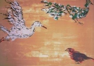 Lithographie Tian-Tian - Treasure birds 1