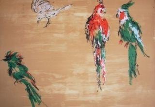Lithographie Tian-Tian - Treasure birds 2