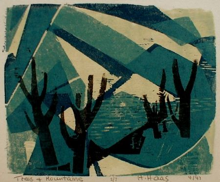 Gravure Sur Bois Haas - Trees and Mountains