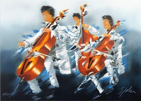 Lithographie Spahn - Trio de Violoncelles