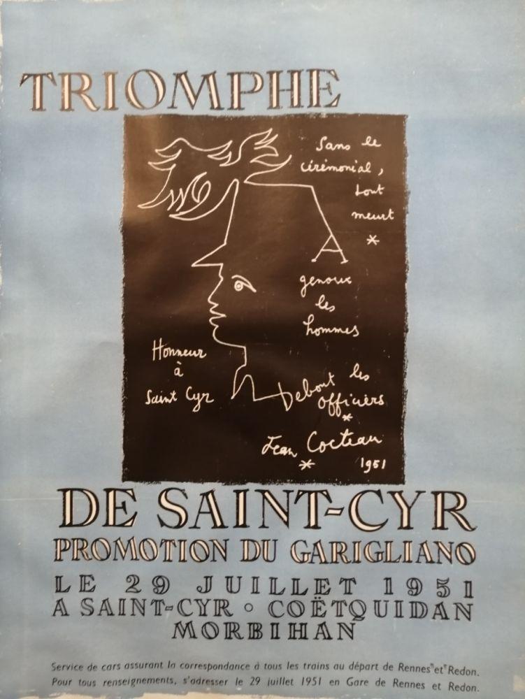 Affiche Cocteau - Triomphe de Saint Cyr - Promotion du Garigliano -