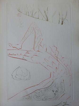 Gravure Dali - Tristan Et Iseult : Tristan Blessé