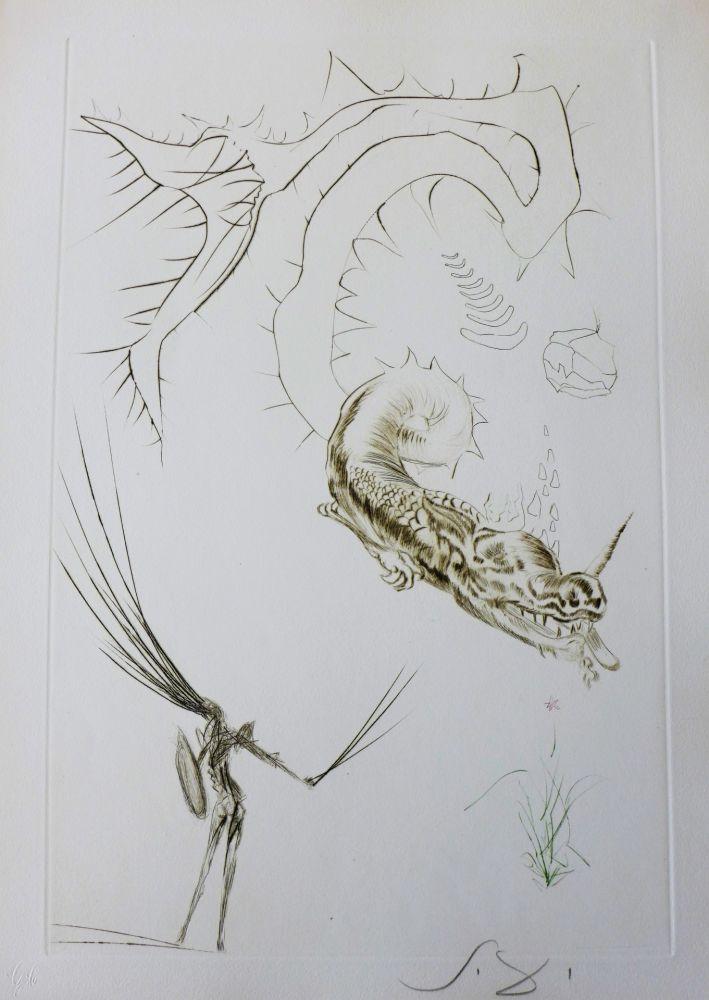 Gravure Dali - Tristan et Iseult : Tristan et le dragon