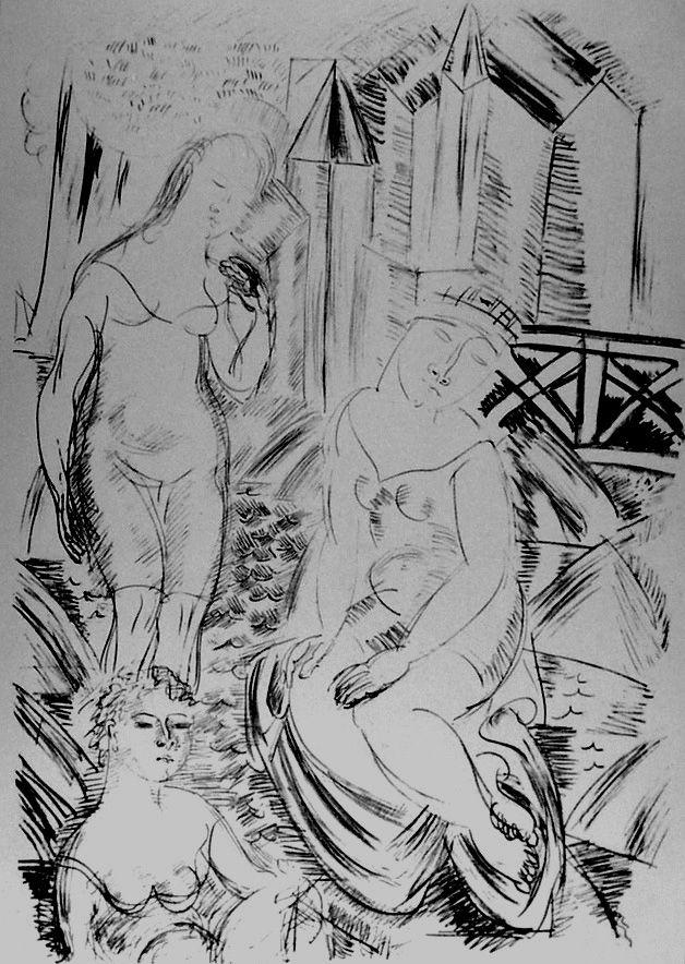 Lithographie Dufy - Trois baigneuses devant le port de Sainte-Adresse