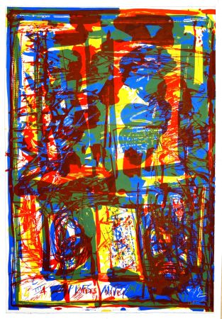 Lithographie Huftier - Trois couleurs sous verre
