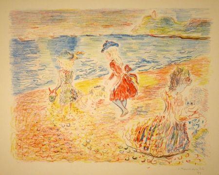 Lithographie Terechkovich - Trois enfants sur une plage / Drei spielende Mädchen am Strand