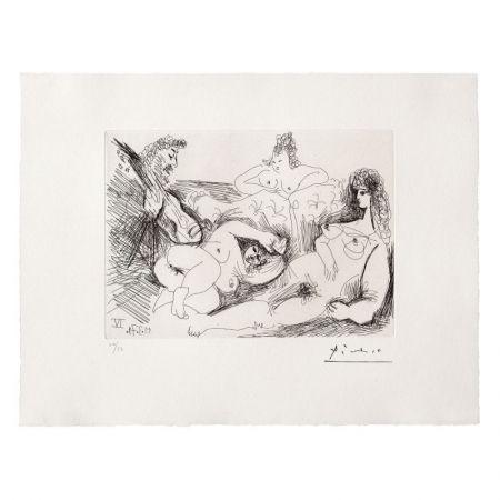 Eau-Forte Et Aquatinte Picasso - Trois Femmes nues écoutant un joueur de guitare