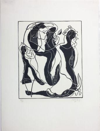 Gravure Sur Bois Survage - Trois Femmes (Paris, 1933)