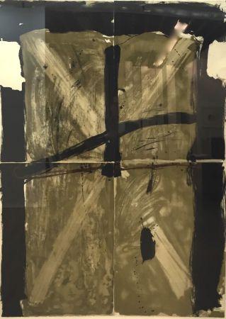 Lithographie Tàpies - Trois Gris Et Marron