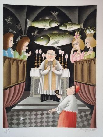 Lithographie Peynet - Trois Messes basses