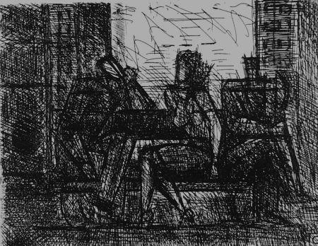 Eau-Forte Gromaire - Trois personnages sur un banc