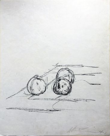Lithographie Giacometti - TROIS POMMES (Three apples). 1961. Lithographie signée.