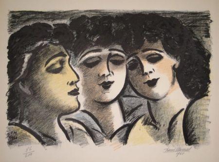 Lithographie Masereel - Trois visages